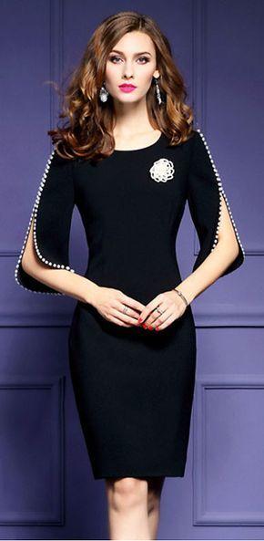 Stylish O-Neck Half Sleeve Bodycon Dress