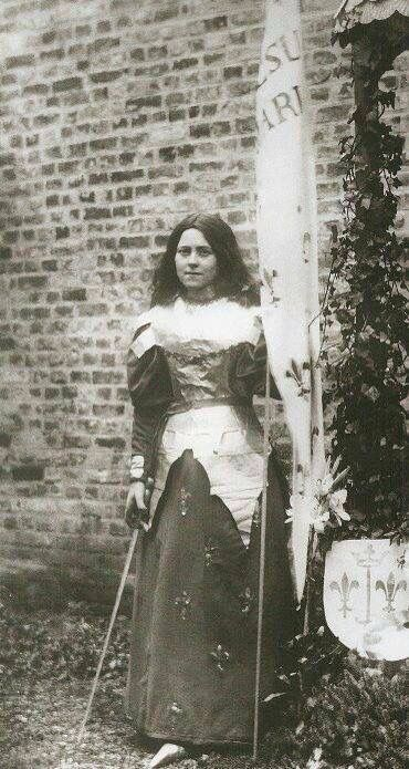 Thérèse dressed as St. Joan of Arc for a play the sisters did for their convent.