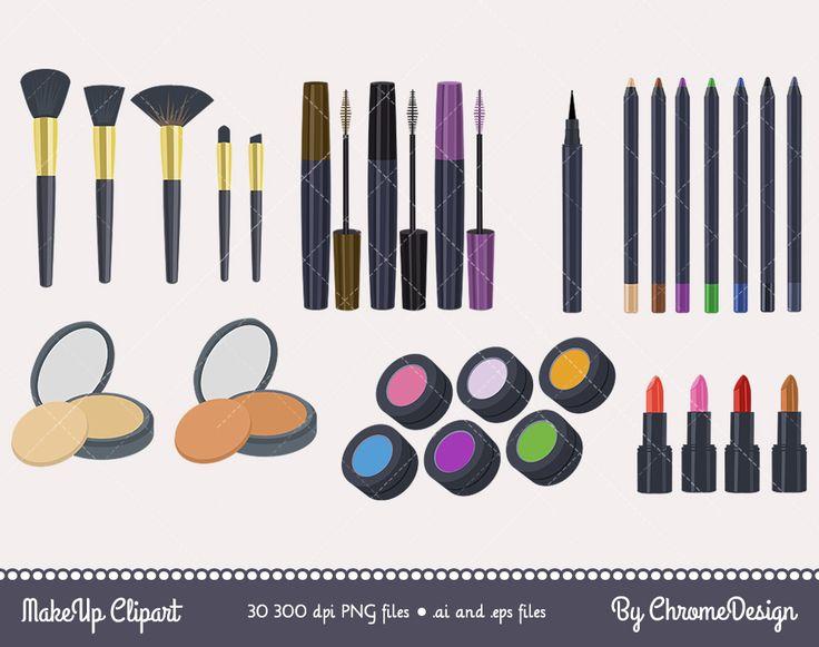 Cosmetics Clipart, Makeup Clipart, Clipart set of Eyeshadow Brush, Eyeliner, Lipstick, Eye Pencil, Eye Powder, Mascara