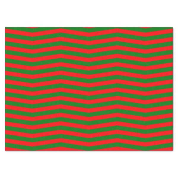 Christmas Red and Green Chevron Zig Zag Stripes Tissue Paper #christmas #giftwrap #xmas #wrappingpaper #tissuepaper