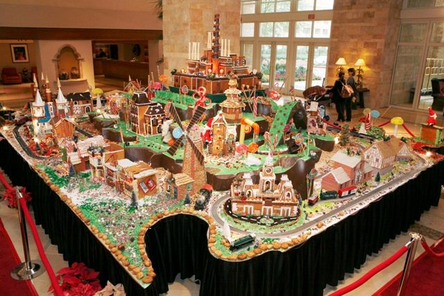 From DEC 2011:  Two Valley resorts delighted guests with jaw-dropping gingerbread villages, as well as a gingerbread house-making class to create your own edible masterpiece at home. Description from arizonafoothillsmagazine.com. I searched for this on bing.com/images