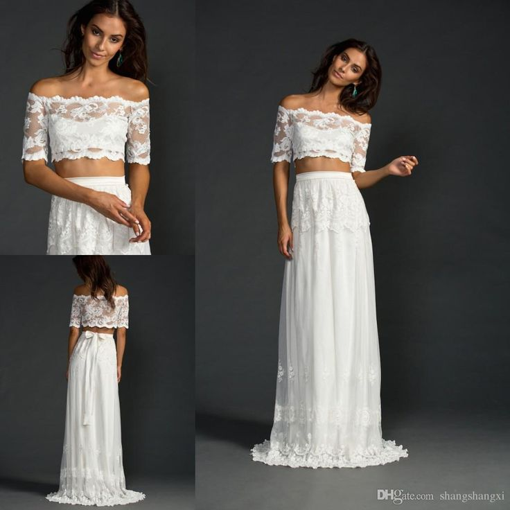 Boho Wedding Dresses 2015 Two Pieces Wedding Gowns Off The