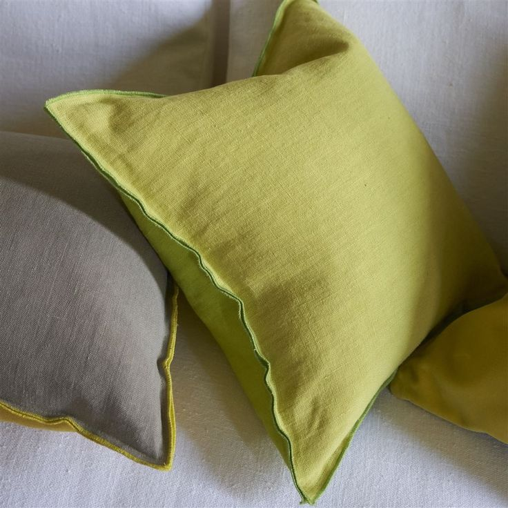 Brera Lino Lime Cushion - Two tone Brera Lino pure linen features in this contemporary square cushion in lime green, reversing to alchemilla and a unique double seam detail