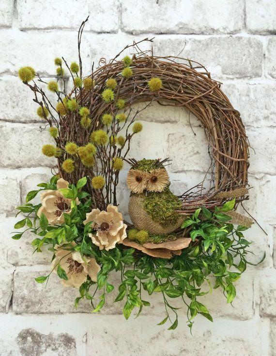 Owl Wreath Summer Wreath for Door Front Door by AdorabellaWreaths
