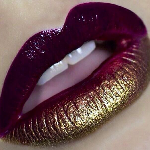 Plum and gold ombre Lips! I love the metallic!                                                                                                                                                     More