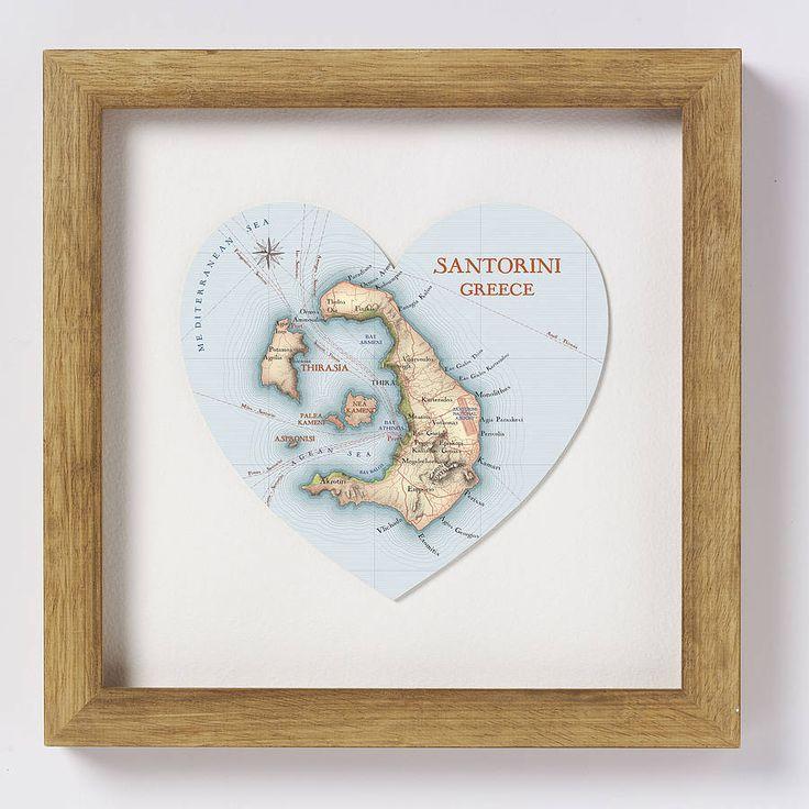 santorini map print heart by bombus off the peg | notonthehighstreet.com