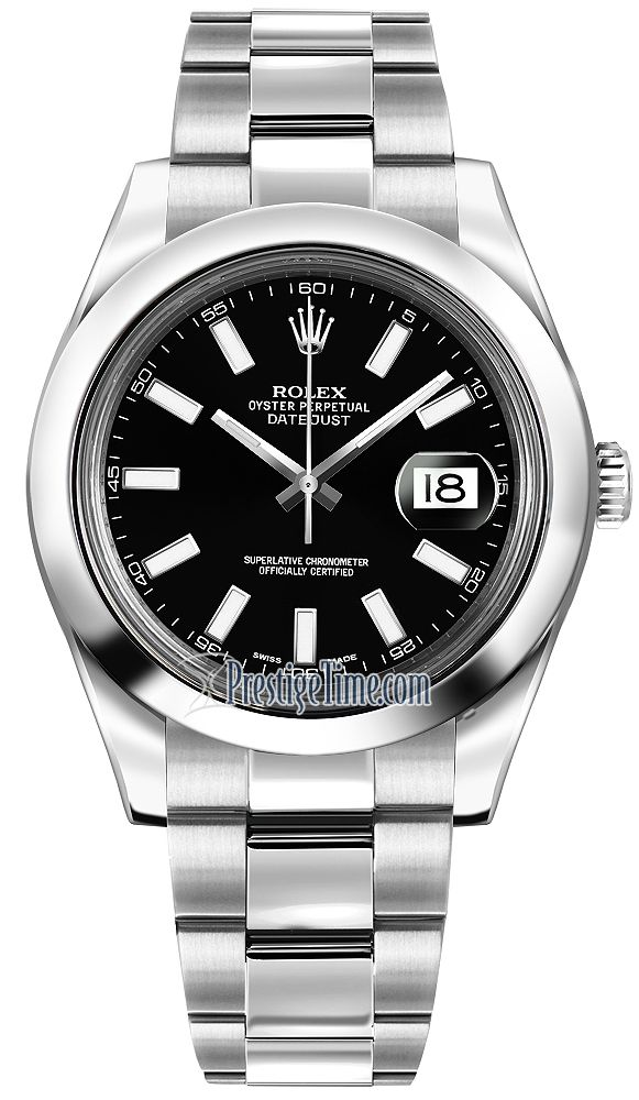 116300 Black Index Rolex Oyster Perpetual Datejust II Mens Watch