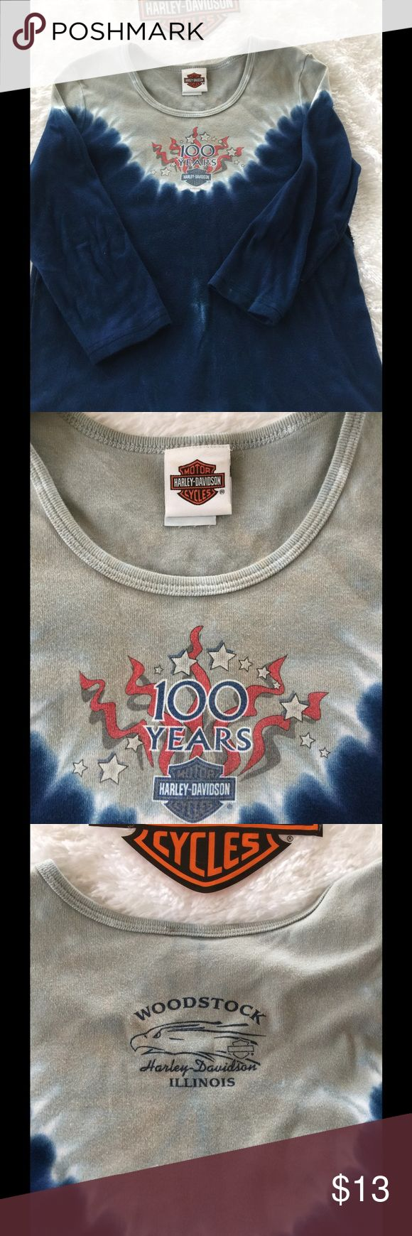 100 year anniversary Harley tee 3/4 sleeve anniversary shirt, light and dark blue tye dye Great used condition, no stains spots, rips, tears, smells. Woodstock IL on the back Harley-Davidson Tops Tees - Long Sleeve