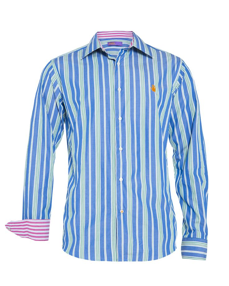 Men's blue & green striped shirt, available at www.46664fashion.com