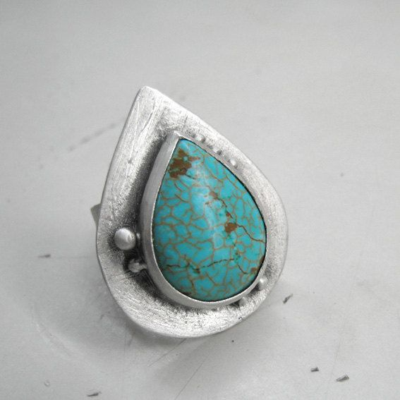 Turquoise Ring Gemstone Statement Cocktail Sterling by applenamedD, €75.00