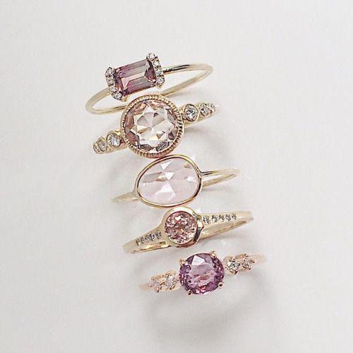 Vale Jewelry PS Ring with Pink Tourmaline, Aurora with Morganite, Pink Sapphire Slice, Caldera with Pink Tourmaline and Pascale with Pink Spinel
