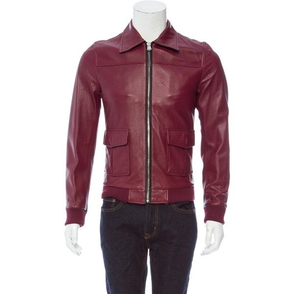 Pre-owned Dolce & Gabbana 2015 Leather Jacket (118.955 RUB) ❤ liked on Polyvore featuring men's fashion, men's clothing, men's outerwear, men's jackets, red, mens leather flight jacket, mens flight jacket, mens red jacket, mens red bomber jacket and mens leather bomber jacket