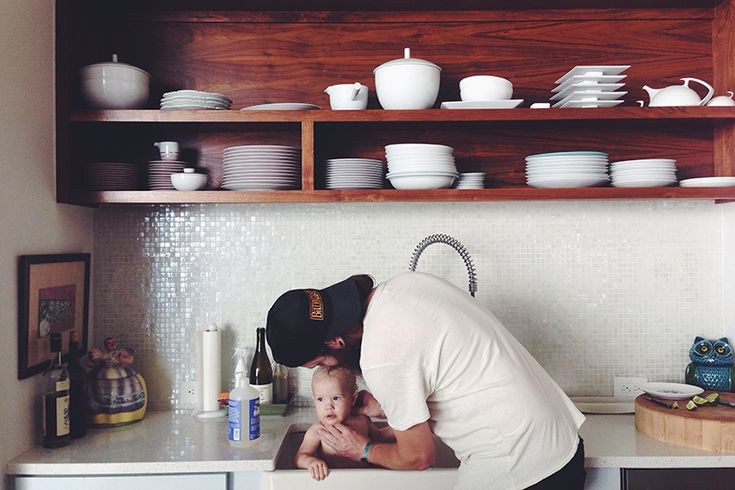 Kitchen shelving and backsplash -- Bleubird Blog