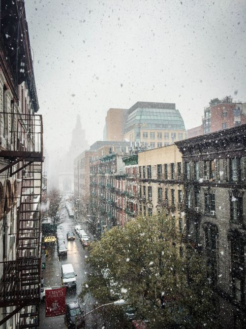 Snowfall on Thompson Street, Greenwich Village, NYC (Washington Square Park in the distance)