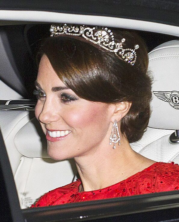 Catherine, Duchess of Cambridge arriving at Buckingham Palace for the state dinner held for the President of China and his wife, President of China Xi Jinping and Peng Liyuan