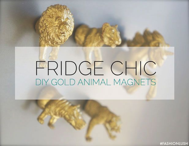 DIY gold animal magnets: saw a plastic figurine (animal) in half and spray paint it metallic, then stick a magnet on the back