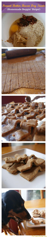 Peanut Butter Bacon Dog Treats! Make your own healthier version of Beggin' Strips. #dogs #dogtreats #homemade #dogdiy