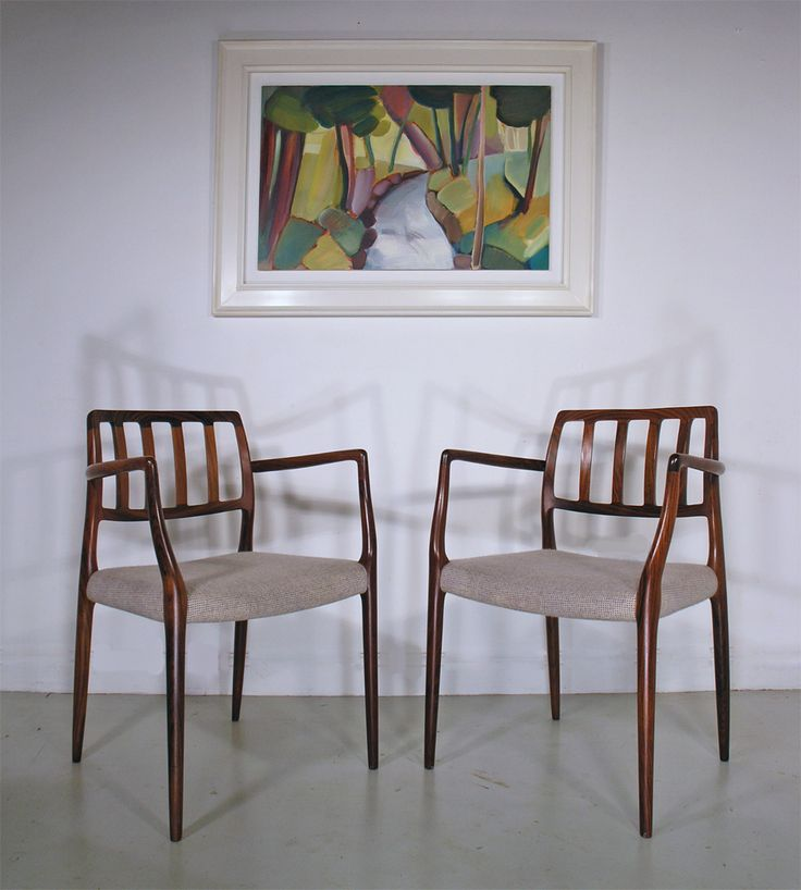 Rosewood Moller dining chairs - painting 'Spring Burn' by Lindsey Hambleton