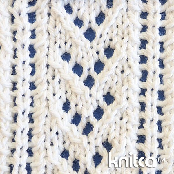 Delicate lace stitch pattern at Knitca