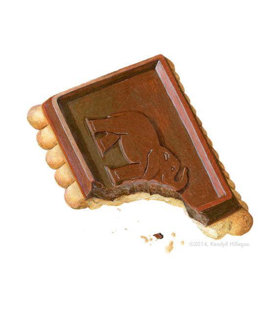 Chocolate Biscuit // Food Illustration // Food par KendyllHillegas