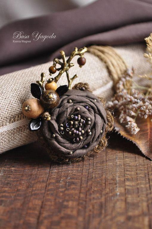 """Купить Брошь """"Лесная осенняя"""" - коричневый, осень, брошь, брошка ручной работы, брошь цветок"""