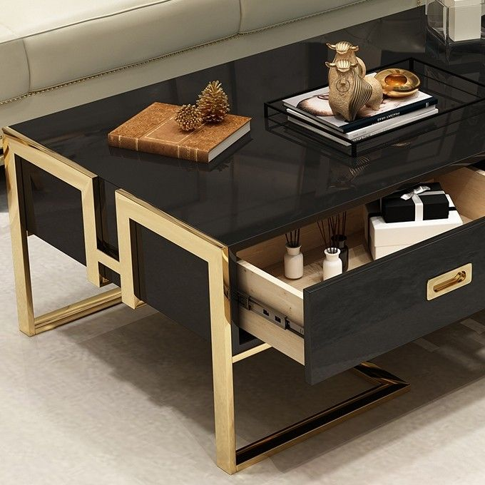 Jocise Contemporary White Black Rectangular Storage Coffee Table With Drawers Lacquer Gold Base In 2020 Coffee Table With Storage Coffee Table Coffee Table With Drawers