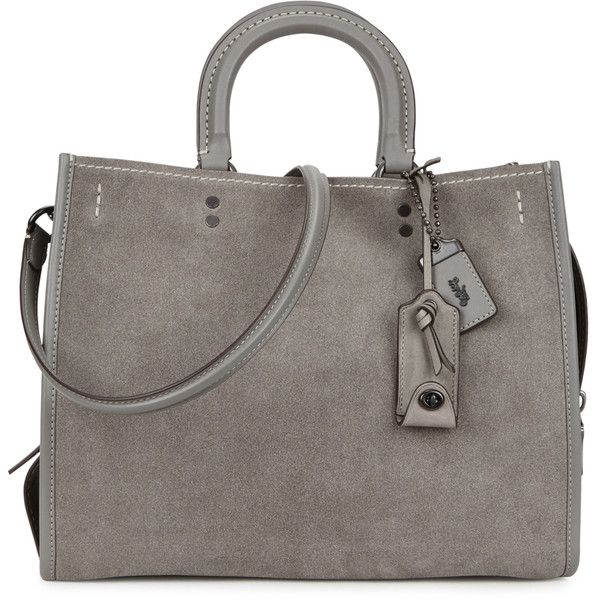Coach 1941 Rogue grey suede tote (£750) ❤ liked on Polyvore featuring bags, handbags, tote bags, grey handbags, grey tote, pocket tote, pocket tote bag and zip tote bag