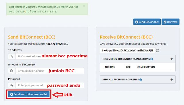 SUPPORT BISNIS BITCONNECT COIN INDONESIA: Panduan Transfer BCC
