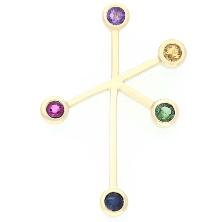 14K Yellow Gold Southern Cross Pendant, with a Variety of Colour Stones    www.uwekoetter.com