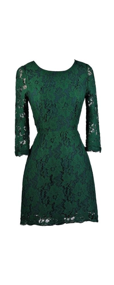 Lily Boutique Simple Yet Stunning Lace Open Back Three Quarter Sleeve Dress in Forest Green, $40 Forest Green Lace Dress, Cute Holiday Dress, Green Lace Party Dress, Dark Green Lace Dress www.lilyboutique.com