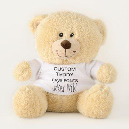 "Custom 11"" Teddy Bear Toy Template JOKER WILD - diy cyo personalize design idea new special custom"