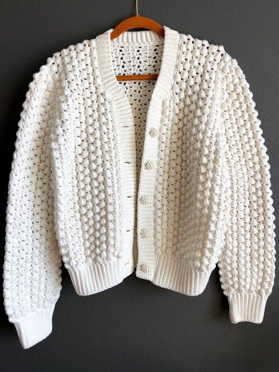 Vintage Hand Knit White Buble Cardigan Chunky Sweater Size S