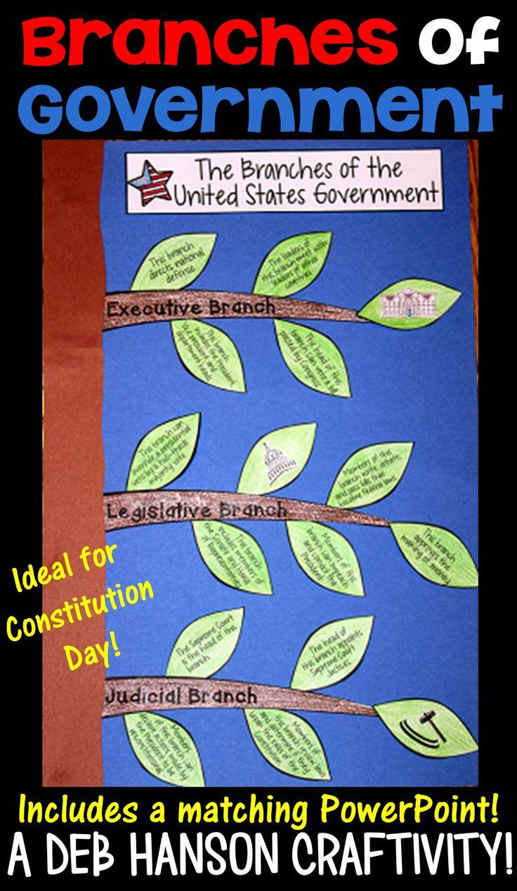Branches of Government Craftivity! This file contains a matching PowerPoint, too! After viewing the PowerPoint, students read phrases that they match to the correct branch of government (executive, legislative, or judicial), and create the craftivity.