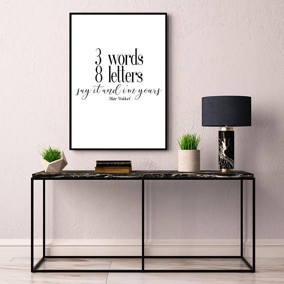 Gossip Girl Blair Waldorf Chuck Bass 3 Words 8 Letters, Printable Poster 8  X 10, Downloadable, Room Decor, Digital File, Instant Wall Art