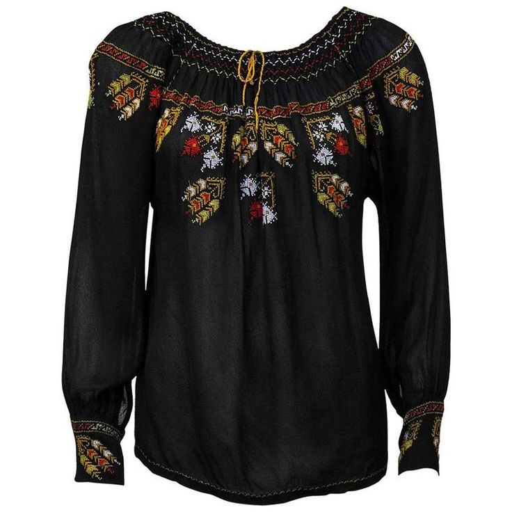 1940's Anonymous Black Hand Embroidered Smock Top | From a collection of rare vintage blouses at https://www.1stdibs.com/fashion/clothing/blouses/