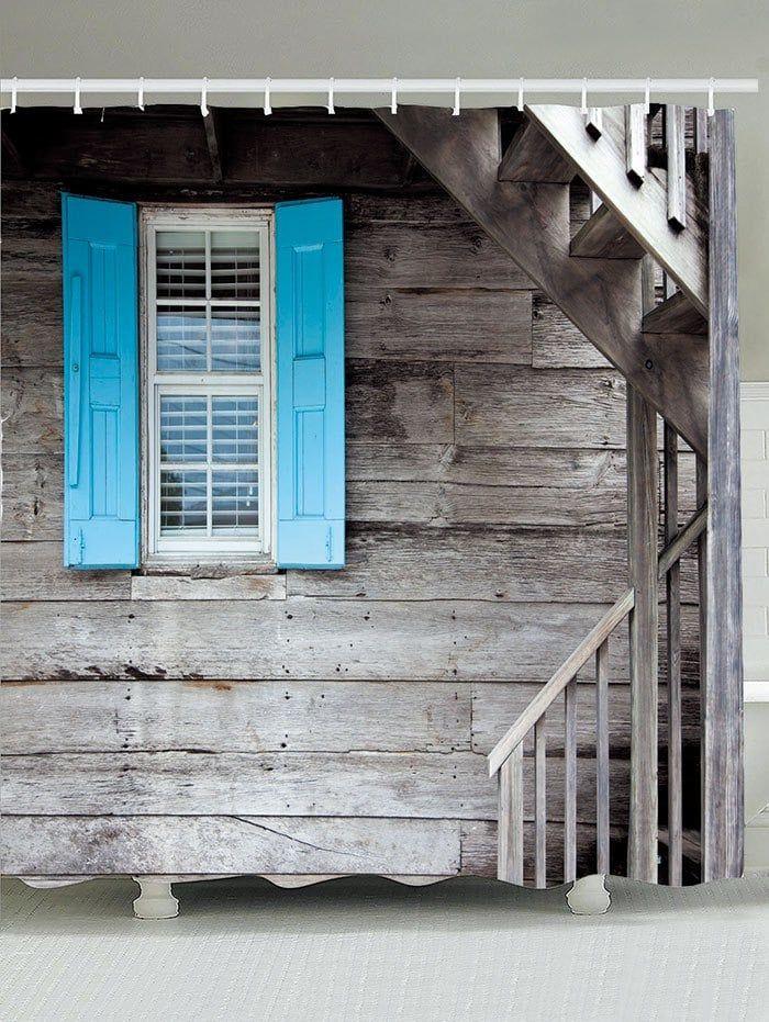 Waterproof Wood Grain Window Stair Print Shower Curtain