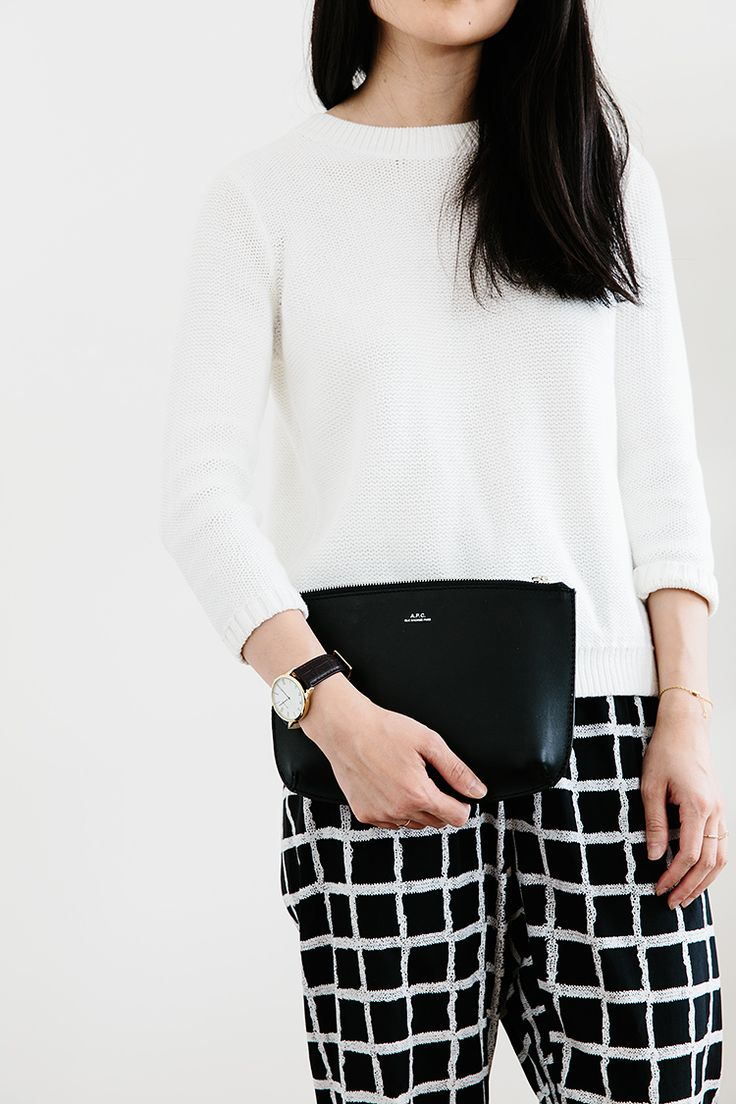 silky pants, monochrome palette.