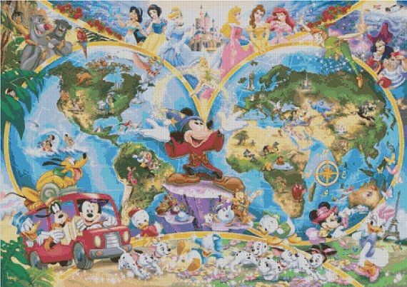 Counted cross stitch pattern for Disney Earth Map with a number of classic characters.