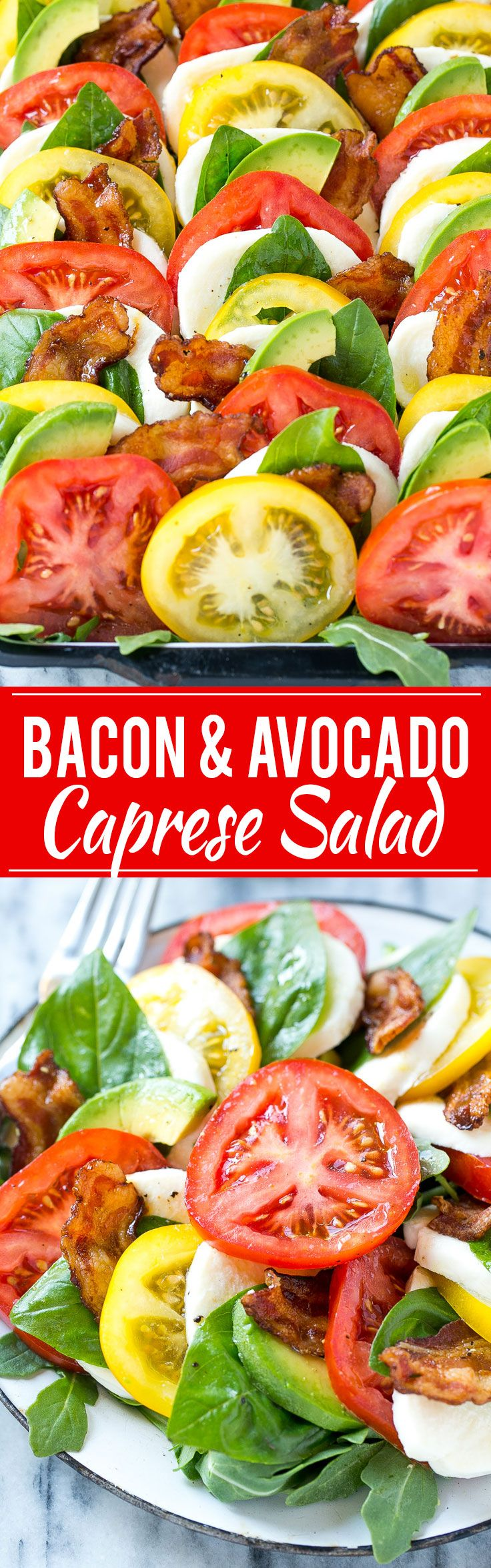 This recipe for bacon caprese salad is layers of tomatoes, mozzarella cheese, bacon, avocado and basil leaves, all drizzled with a lemon vinaigrette. The perfect summer main course or side dish! SmithfieldFlavor AD