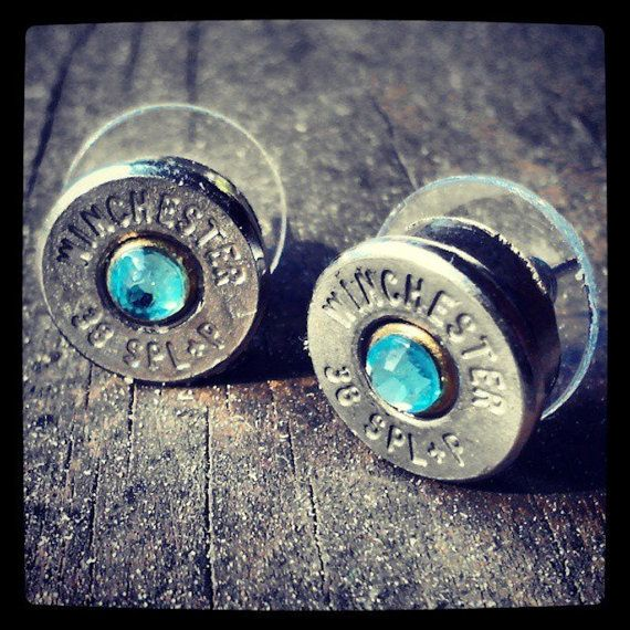 Bullet Stud Earrings Winchester .38 and 9mm Silver Gold Nickel Brass Aqua Blue Crystal Clear on Etsy, $22.66