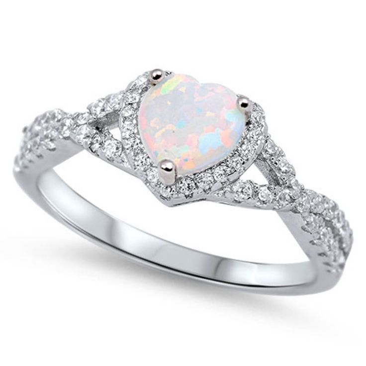 Heart Promise Halo Ring 0.74CT Heart Shape Lab White Opal Round Clear CZ Solid 925 Sterling Silver Wedding Engagement Infinity Shank Ring