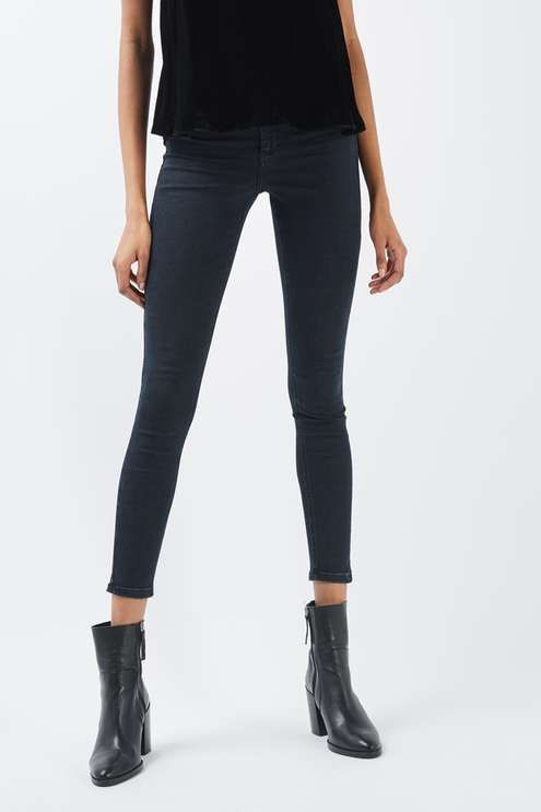 MOTO High rise, ankle grazing skinny jeans in blue black power stretch denim. #Topshop