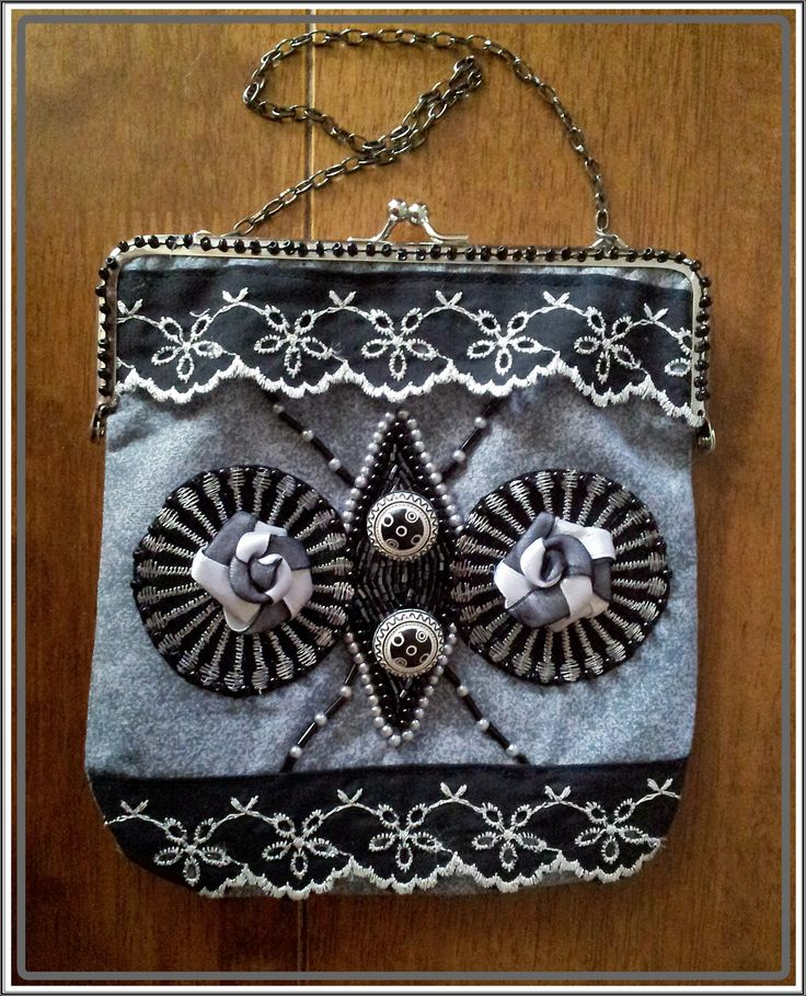 $38 + postage $ 8.60 AU OOAK 1920's Inspired Beaded and Embellished Purse , approx 15 x 16cm not including chain . Center is beaded with Glass Bugle and Pearl beads , seed beads and lace trimming with gorgeous black and white buttons as accents .