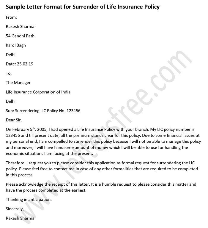 Sample Letter Format For Surrender Of Life Insurance Policy Life
