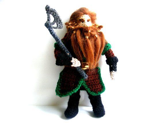 Gloin Dwarf The Hobbit Tolkien Crochet Doll by AmayArt on Etsy, $65.00