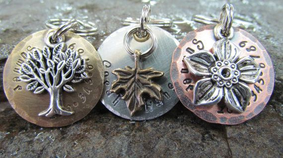Pet Tags - Pet ID Tag - Dog Collar Tag with Leaf, Flower or Tree of Life Charm, Personalized via Etsy