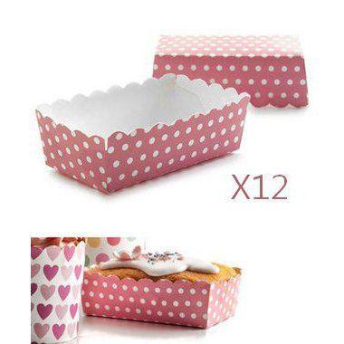 12 Caissettes rectangulaires à pois pour mini cakes