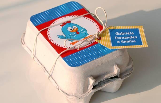 Galinha pintadinha - etiqueta caja huevos