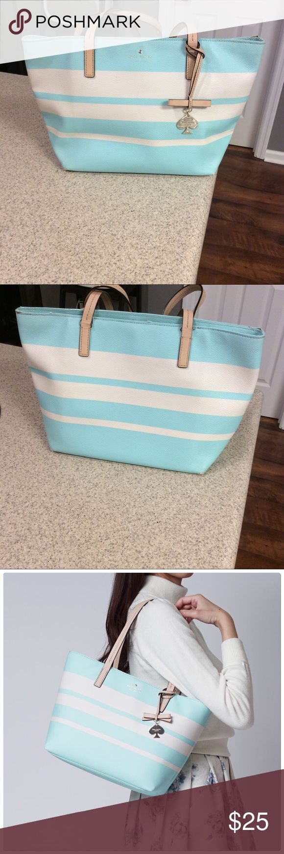 "Kate Spade New York Hawthorne Lane Small Ryan Tote Coated canvas tote! Color is grace blue/ cement. This bag has many flaws (price reflects). The inside needs cleaning and has stains. The handles are worn. The corners of the bag are worn. 14""x10""x5"". Authentic. No trades! No offers on comment section. kate spade Bags"