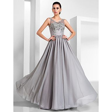 A-line V-neck Floor-length Chiffon And Tulle Evening Dress  – USD $ 179.99